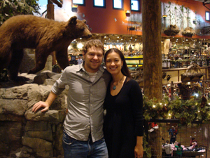 Darren and me at Bass Pro Shops, like Disneyland for hunting and fishing.